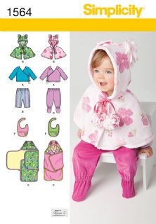 1564 Simplicity Pattern: Babies' Top, Trousers, Bib and Blanket Wrap